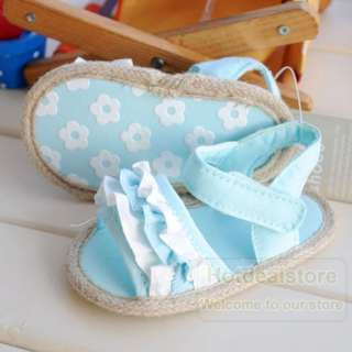 Blue Infant Baby Girl Ruffle Tiered Shoes Sandal 6 12m