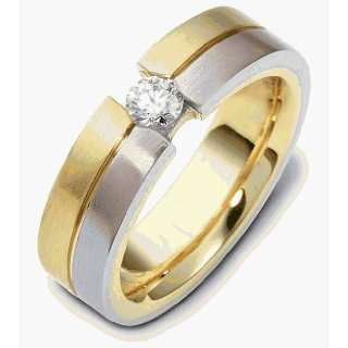 6mm 18 Karat Two Tone Gold Diamond Band, 0.22 TCW   5