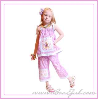 BOOAK Boutique GIRL Custom Disney Tangled Fabric Pants Top Set