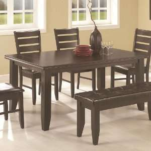 Rectangular Dining Table with Block Legs in Cappuccino