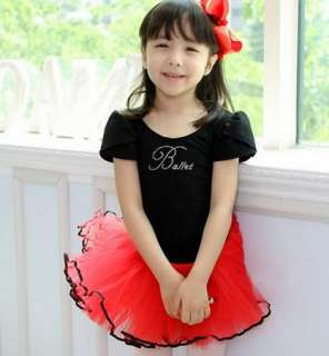 Party Leotard Ballet Tutu Dance Skate Skirt Costume Dress 3 8Y