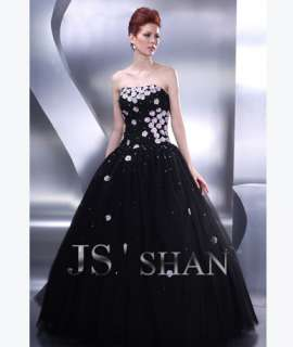 JSSHAN Black Long Formal Prom Ball Gown Evening Dress