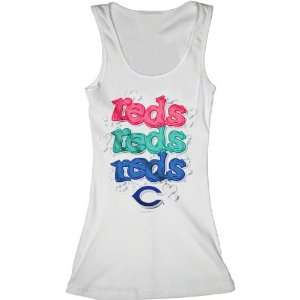 Cincinnati Reds White Girls Ribbed Tank Top