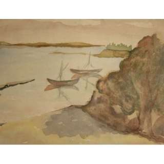 ANTIQUE WATERCOLOR PAINTING SEASCAPE SAILBOAT