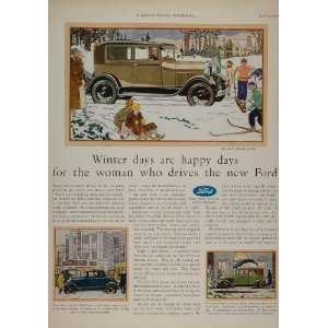 1929 Ad Ford Model A Sedan Coupe Vintage Skiing Sled