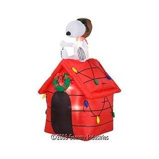 Christmas Peanuts Snoopy Red Baron Dog House 4 Airblown