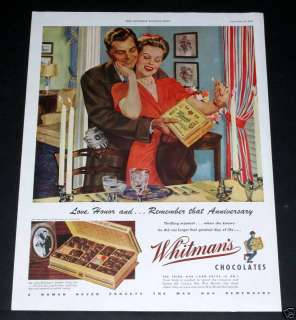 1943 OLD WWII MAGAZINE PRINT AD, WHITMANS CHOCOLATE CANDIES, RAY
