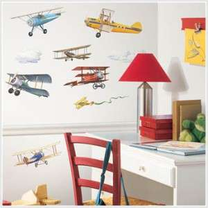 22 New VINTAGE AIRPLANES WALL DECALS Planes Stickers Boys Room Decor