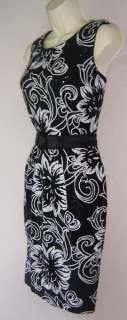 ALEX EVENINGS White/Black Sequined Cocktail Dress 8 NWT