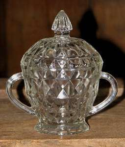 ANTIQUE JEANETTE DEPRESSION GLASS COVERED SUGAR BOWL