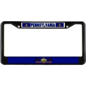 Pennsylvania PA State Flag Black License Plate Frame Metal