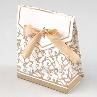 50 Gold Yellow Ribbon Wedding Favor Candy Boxes Gifts