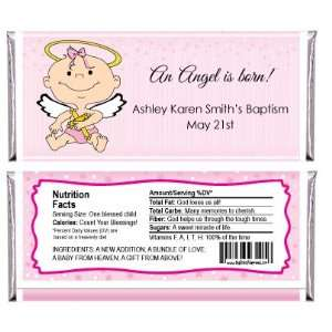 Angel Baby Girl   Personalized Candy Bar Wrapper Baptism Favors Baby