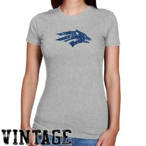 Nevada Wolf Pack Ladies Ash Distressed Logo Vintage Slim