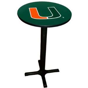 Miami Hurricanes College Laminated Pub Table w/black trim