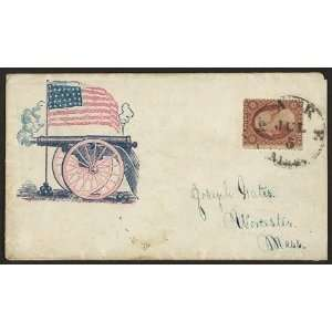 Civil War envelope,firing cannon,American flag,cannon balls,patriotic