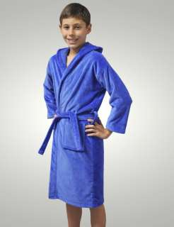 GIRLS AND BOYS KIDS VELOUR TURKISH ROBES BATHROBES BLUE