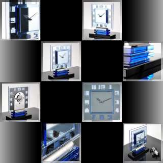 Stunning 1920s German ART DECO Blue Mirror & Glass MANTEL CLOCK by