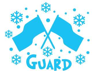 Color Guard Winter Snowflakes and Flags Blue Wall Decal
