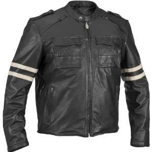RIVER ROAD BARON RETRO LEATHER JACKET (BLACK) Automotive
