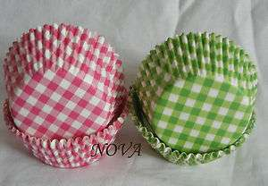 100 PINK green Plaid Cupcake Cake liners baking paper cup muffin case