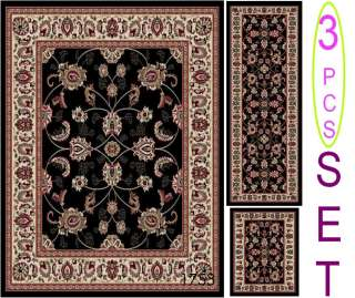 PIECE BLACK TRADITIONAL DESIGN AREA RUG SET (5X7, 2X7, 2X3) RUNNER
