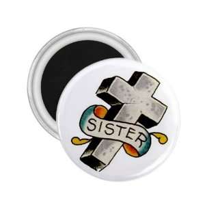 Tattoo Cross Sister Art Fridge Souvenir Magnet 2.25