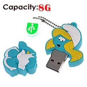 8G Rubber USB Flash Drive with Shape of Smurfs (Blue) Electronics
