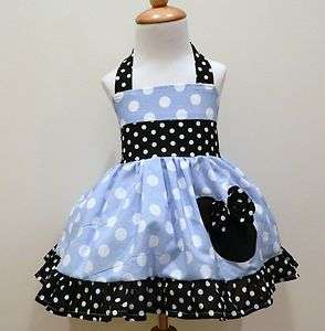 GIRLS CUSTOM BLUE POLKA DOT MINNIE MOUSE HALTER DRESS
