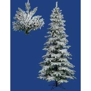 Lit Slim Flocked Utica Fir Artificial Christmas Tree   Dura Lit Multi