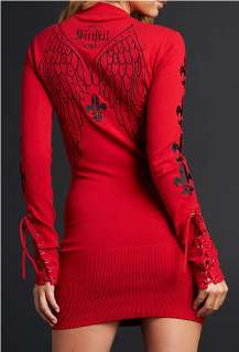 Sinful LENOX Womens Long Sleeve V Neck Sweater Dress   05SW400   RED