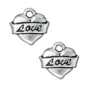 Fine Silver Plated Pewter Love Heart Tattoo Charm 15mm (1
