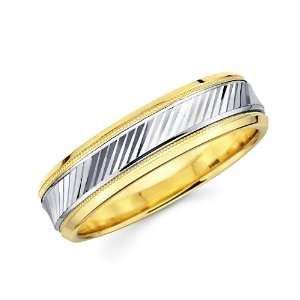14K Solid 2 Two Tone Yellow White Gold DC Diamond Cut Lines Wedding