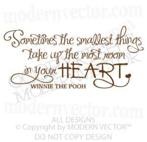WINNIE THE POOH Vinyl Wall Quote Decal SMALLEST THINGS