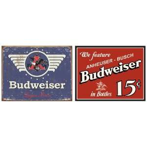 Budweiser Beer Tin Metal Sign Bundle   2 retro signs Budweiser Beer