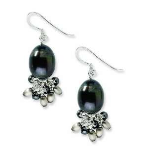 Silver Hematite and Dark Brown Cultured Freshwater Pearl Earrings