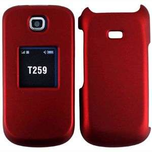 NEW RUBBER RED HARD SNAP CASE COVER FOR SAMSUNG T259