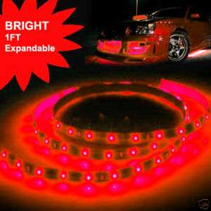 1ft Red LED Strip Rope Lights Expandable Flexible 12V
