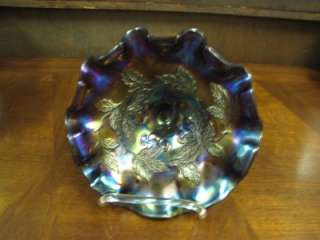 Dugan Amethyst Carnival Glass Three Footed Bowl Cherry Pattern