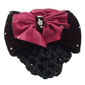 Woman Rhinestone Flower Hair Clip Snood Net Barrette Red Black Beauty