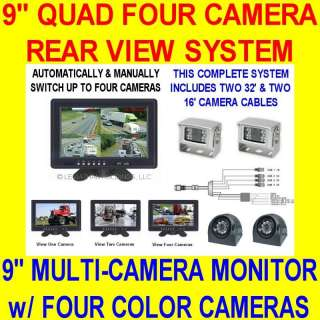 FOUR CAMERA COLOR REAR VIEW BACKUP SYSTEM QUAD 4