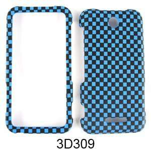 ZTE SCORE X500 TEXTURED BLUE BLACK CHECKERS Cell Phones & Accessories