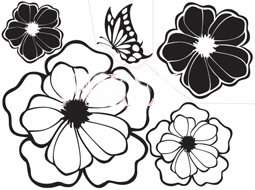 Art Decor Four Flowers & Butterfly Wall Stickers Vinyl