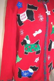 Scottish Terrier Dog SWEATER Heirloom Collectibles Women Plus 1X Red