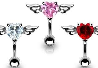 heart with angel wings belly rings. Gem colors clear, pink, and red