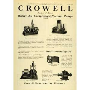 1922 Ad Crowell Rotary Air Compressors Vacuum Pumps