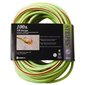 Cable 02549 54 100 Foot 12/3 Neon Outdoor Extension Cord, Green/Red