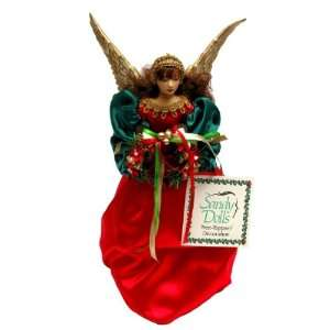 Red and Green Angel Christmas Tree Topper (12 Inches
