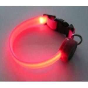 Flashing Nylon Dog Collar with Pink LED Lights, Multi Function, Small