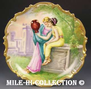 LIMOGES HAND PAINTED LADIES ENJOYING A VASE PLAQUE